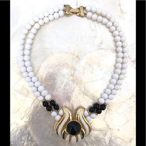 Vtg White Black Bead Gold Tone Statement Necklace